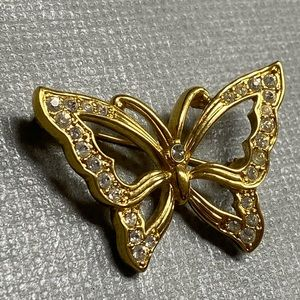 Monet Jewelry - Vtg Monet Gold Tone Crystals Butterfly Brooch Pin